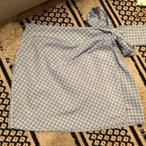 Blue checkered print skirt